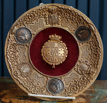 Spanish King Alfonso XIII Coin Ensamble Plate