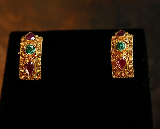 22K Gold Earrings with Emerald and Rubies
