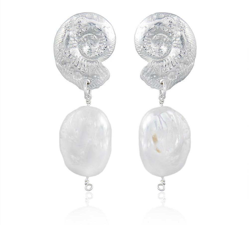 Ammonite Pearl Earrings in Silver, £255, natalie perry jewellery on wearebee.co.uk