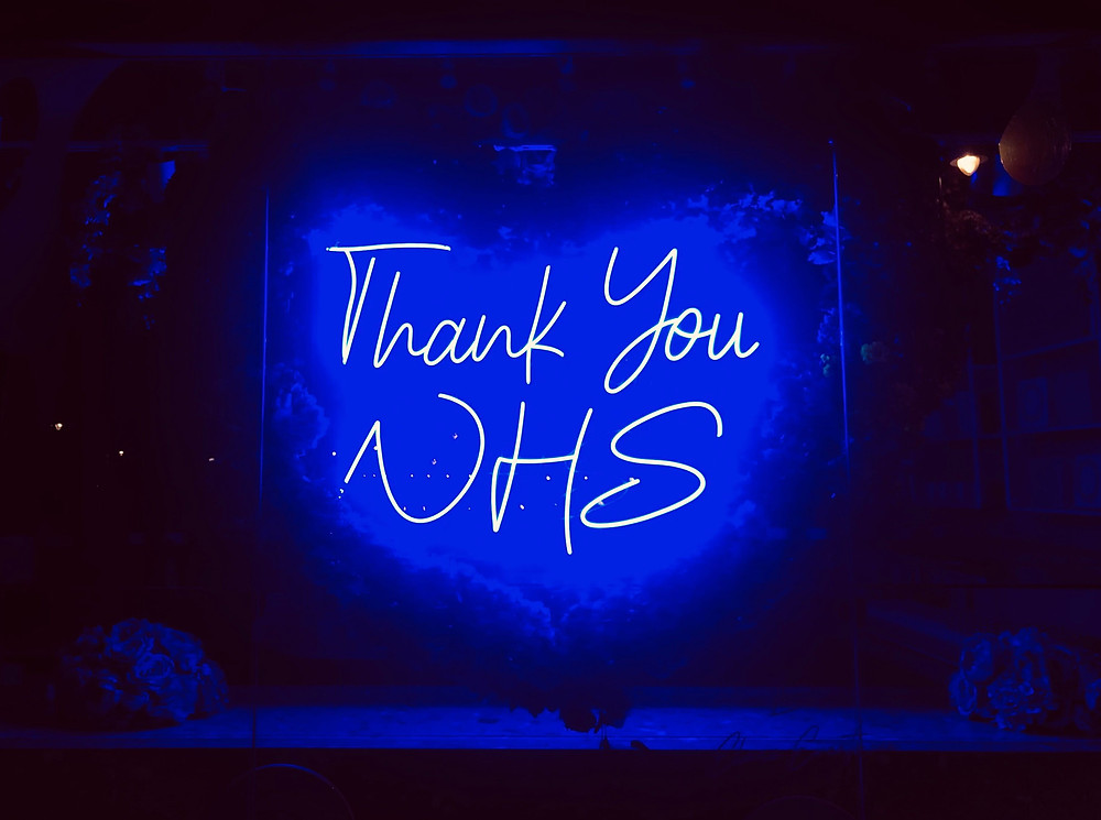 A sign reads 'thank you NHS'