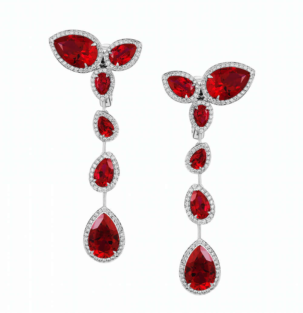 Lola Long Earrings, Swarovski Created Rubies, £6,900. wearebee.co.uk