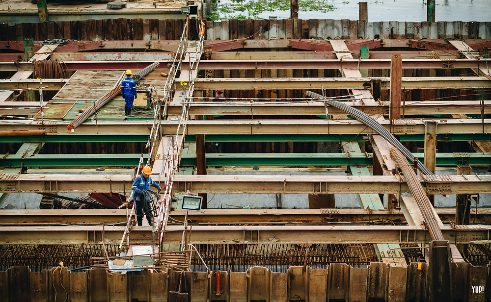 People working on a construction project in Ho Chi Minh City, Vietnam