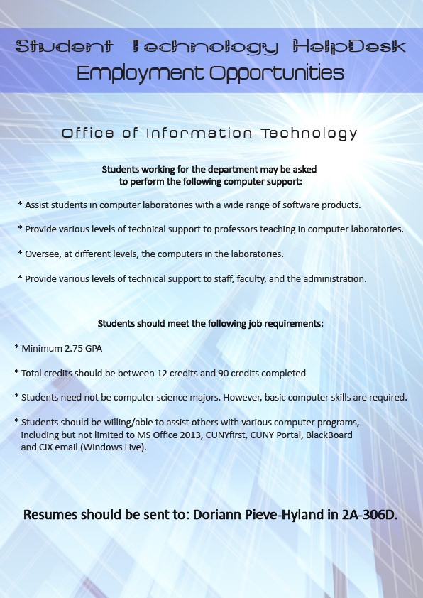 CSI HelpDesk Employment Flyer