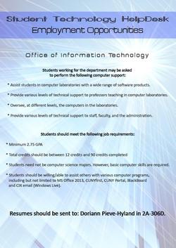 CSI HelpDesk Employment Flyer