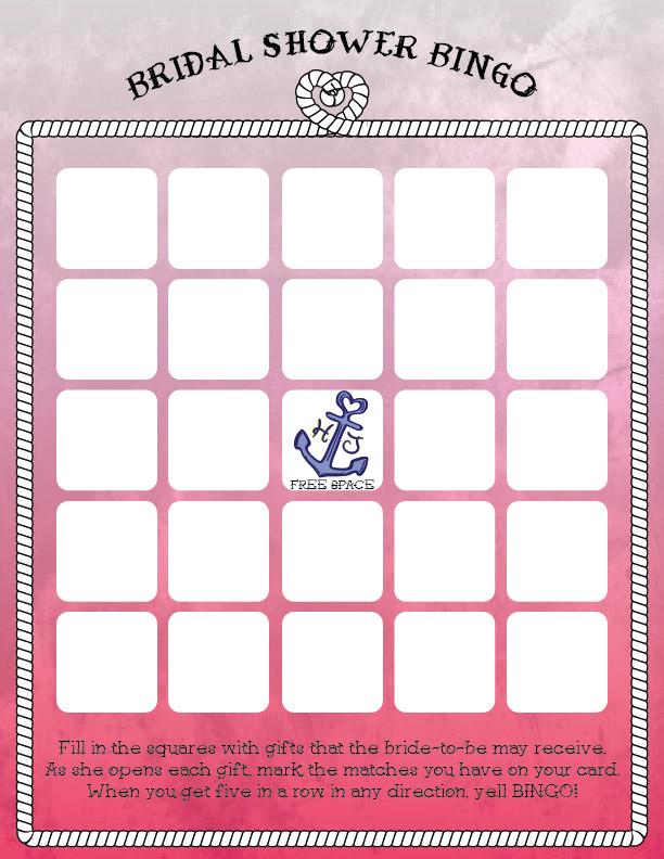 Nautical Theme Bridal Bingo