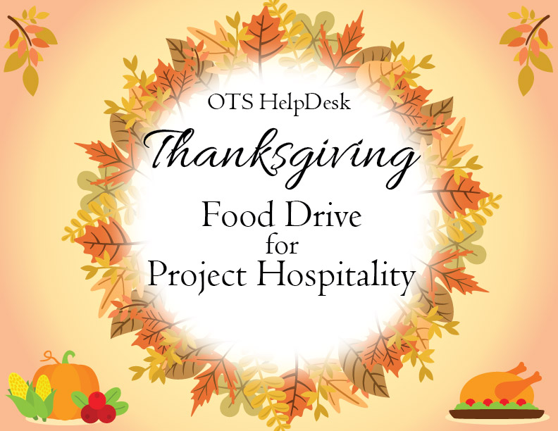 CSI HelpDesk Thanksgiving Food Drive Flyer