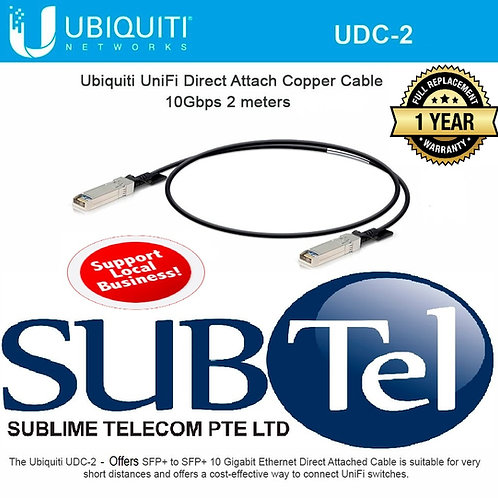 UDC-2 Ubiquiti Networks Direct Attach Cable DAC 10G SFP+ 2 Metres Copper UBNT