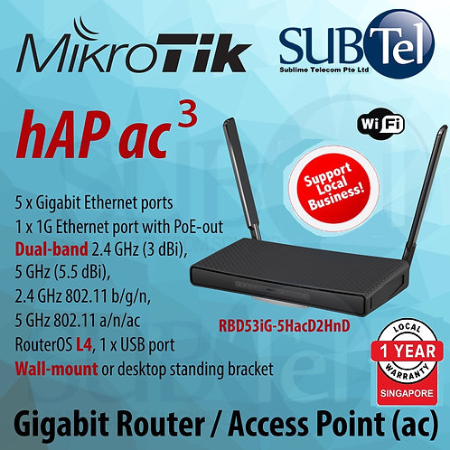 hAP ac3 RBD53iG-5HacD2HnD Mikrotik Gigabit WiFi Router Access Point ac