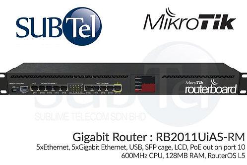 RB2011UiAS-RM Mikrotik Gigabit SFP Router 600 MHz 128MB RAM
