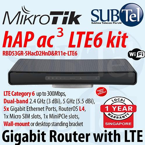 hAP ac3 LTE6 Kit RBD53GR-5HacD2HnD & R11e-LTE6 Mikrotik Dual Band LTE Route