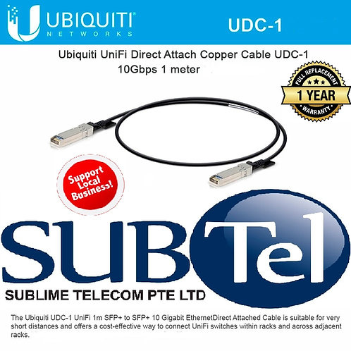 UDC-1 Ubiquiti Networks Direct Attach Cable DAC 10G SFP+ 1 Metre Copper UBNT