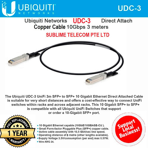 UDC-3 Ubiquiti Networks Direct Attach Cable DAC 10G SFP+ 3 Metres Copper