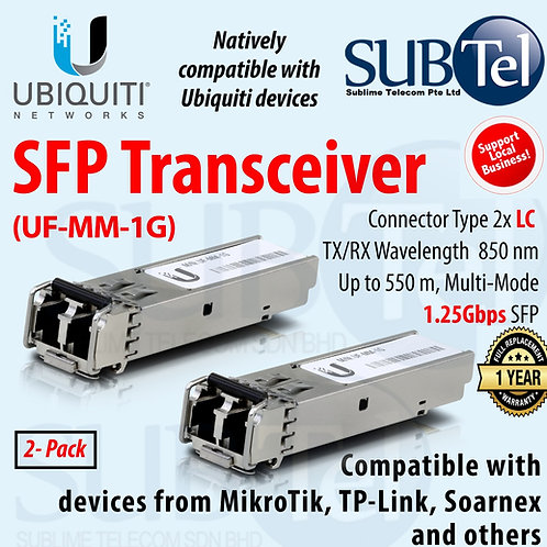 UF-MM-1G Ubiquiti SFP Transceiver 1.25Gbps Fiber Module, Multi-Mode MM UBNT