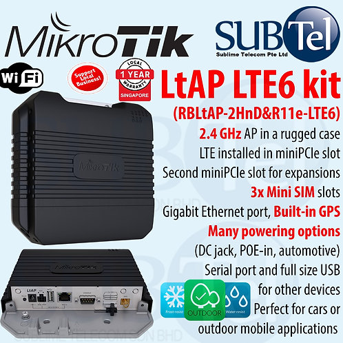 LtAP LTE6 Kit RBLtAP-2HnD & R11e-LTE6 Mikrotik 4G LTE Router CAT6 WiFi GPS