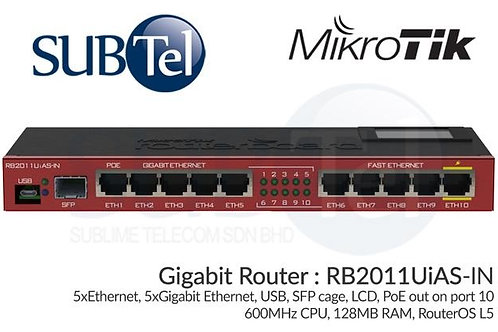 RB2011UAS-IN Mikrotik Gigabit Router 11 Port SFP