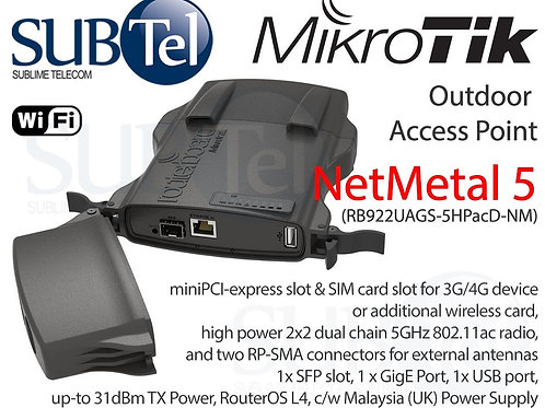RB922UAGS-5HPacD-NM Mikrotik NetMetal 5 5GHz Outdoor LTE PTP Bridge