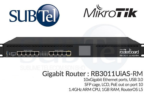 RB3011UiAS-RM Mikrotik Gigabit Router 11 Ports SFP PoE