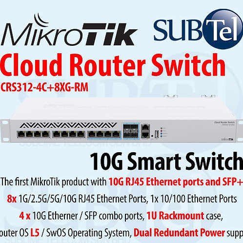 CRS312-4C+8XG-RM MikroTik Smart Switch 10G RJ45 Ethernet Ports Singapore