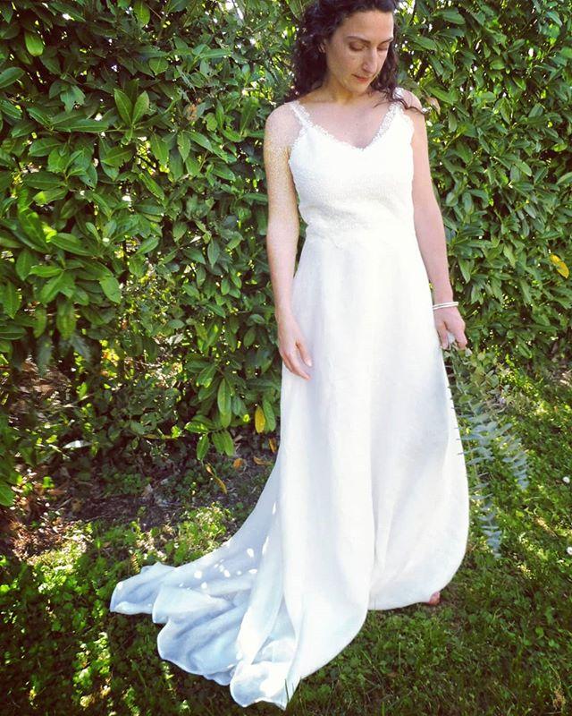 robe de mariée en lin et guipure