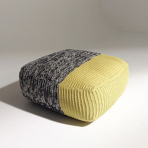 Handmade Knitted Floor Cushion   Mottled Grey & Custard