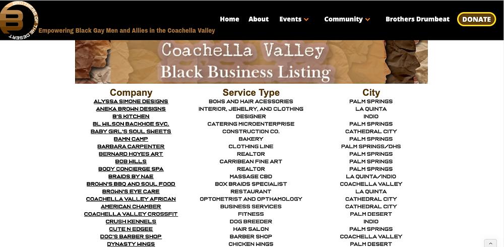 screenshot of coachella valley black business listing