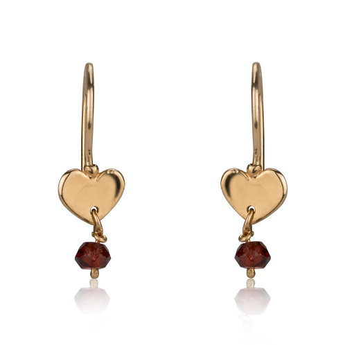 Dainty Heart Earrings  with garnet Dangle