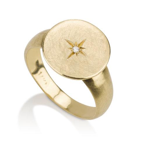 Signet Compass Diamond Ring