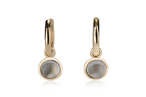 Classic Baby Hoop Earrings with Aquamarine Drops, a classy look for everyday. The earrings were made to wear for a lifetime.