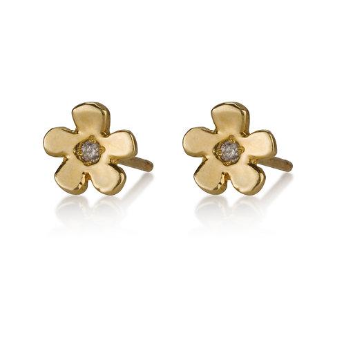 Flat Flower Stud Earrings with Zirconium