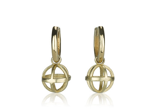 Small Baby Hoop Earrings with DISTANT JOURNEYS Hollow Ball, a chic contemporary look for everyday.