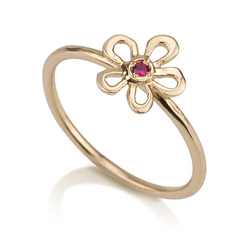 Handmade Flower Girls Ring with Garnet designed to wear on its own, but will also look lovely stacked on top of other rings.