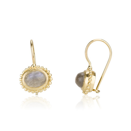 The Dotted Oval Labradorite Earrings , a chic look for everyday.The earrings were made to wear for a lifetime.