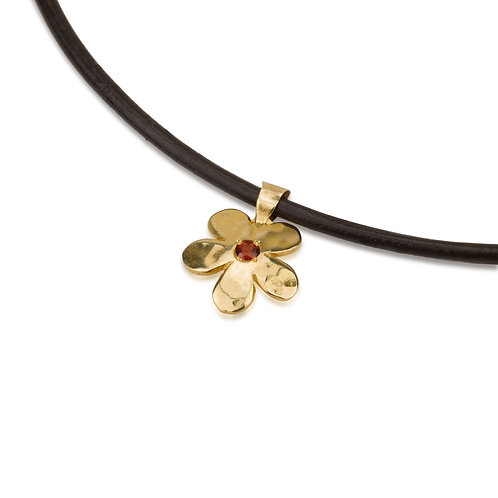 Flower Pendant with Garnet on Leather Chain