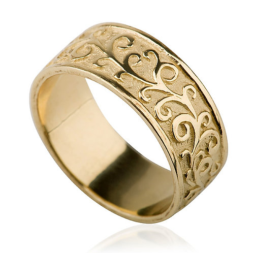 Custom 14k gold Flat Carved 8 mm Wedding Band inspired by beautiful shapes of nature
