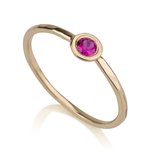 Handmade Circle Girls Ring Pink stone, designed to wear on its own, but will also look lovely stacked on top of other rings.