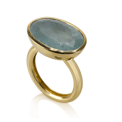 Large Signet Aquamarine Ring