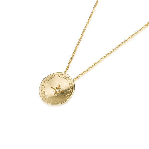 """LOVE"" Flat Gold Circle Engraved Necklace with a Diamond  PERSONAL ENGRAVING AVAILABLE"
