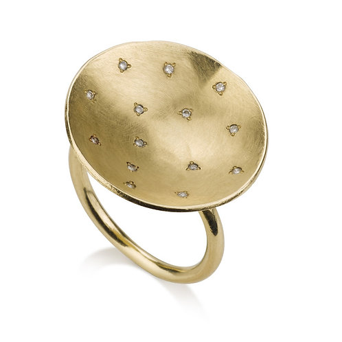 Large Flat Circle Signet Ring With Scattered Diamonds