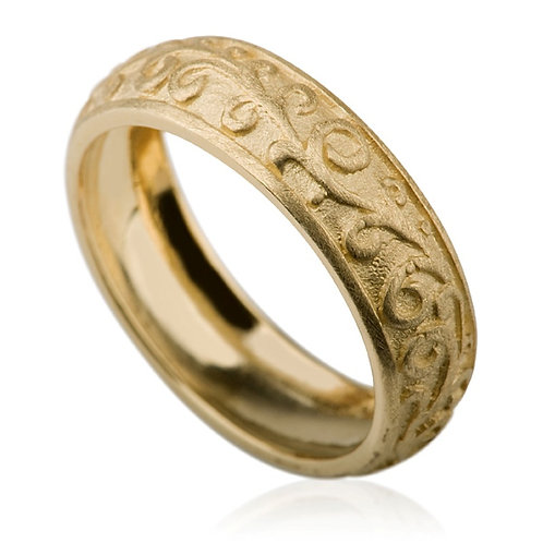 Custom 14k gold Carved 6 mm Wedding Band inspired by beautiful shapes of nature