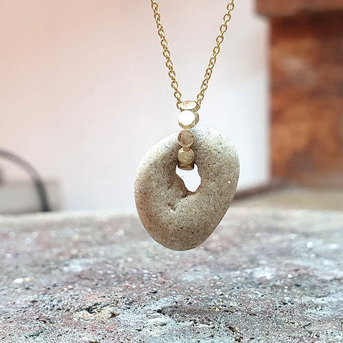 One of a Kind Natural Beach Rock on a Gold Necklace