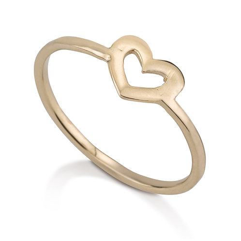 This Open Heart Girls Ring has a chic urban look.   It was designed especially for girls to wear on its own.