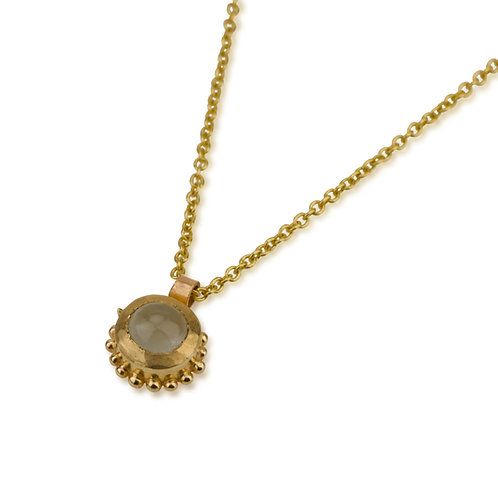Gold balls Aquamarine pendant Necklace