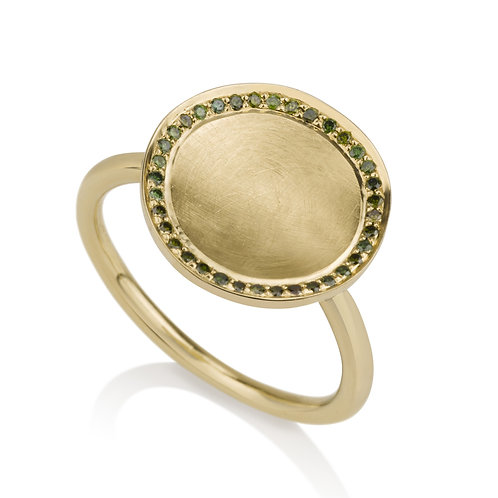 Small Circle Signet Ring With  Green Diamonds