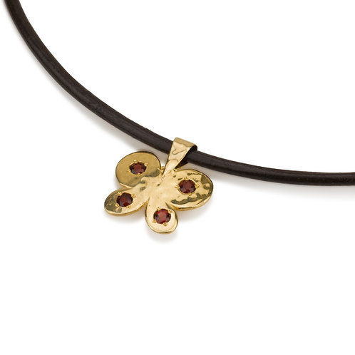 Butterfly Pendant with Garnet on Leather Chain