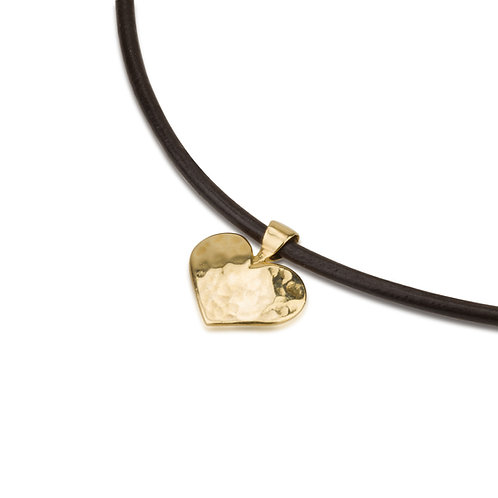 Flat Hammered Heart Pendant  on Leather Chain