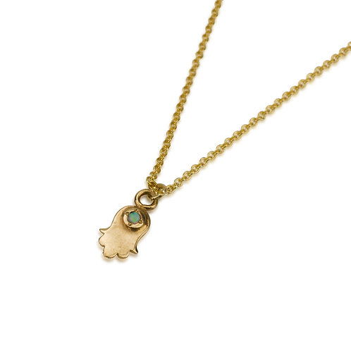 Dainty HAMSA Pendant Necklace with Opal