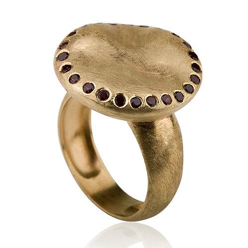 Chunky Organic Pebble Ring with Garnets