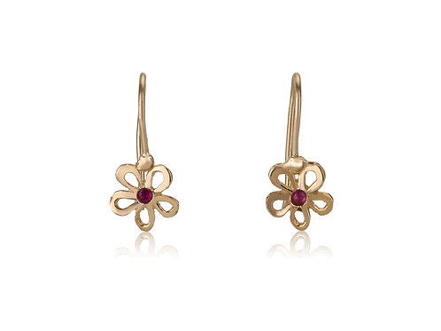 Dainty Hollow Daisy Earrings with Garnet