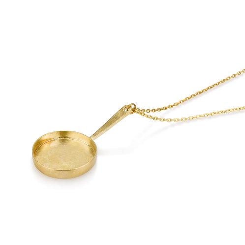 שרשרת תליון מחבת גדולה מצופה זהב/עשויה כסף/זהב מלא/זהב צהוב