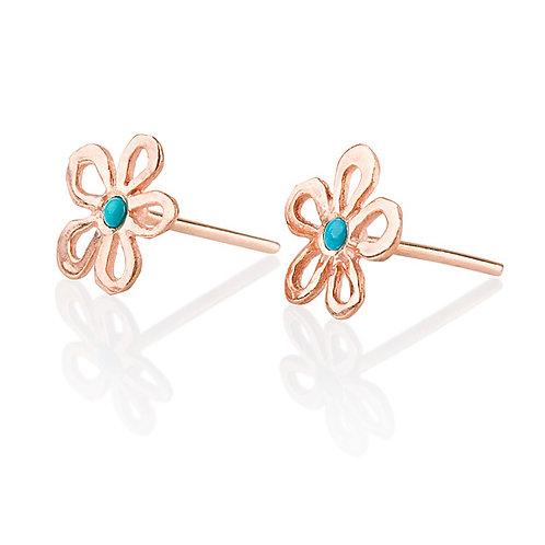 Dainty Hollow Daisy Stud Earrings with Turquoise